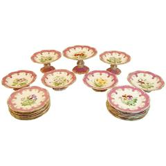 Grouping of Pink and White Floral Decorated Dessert Plates and Compotes