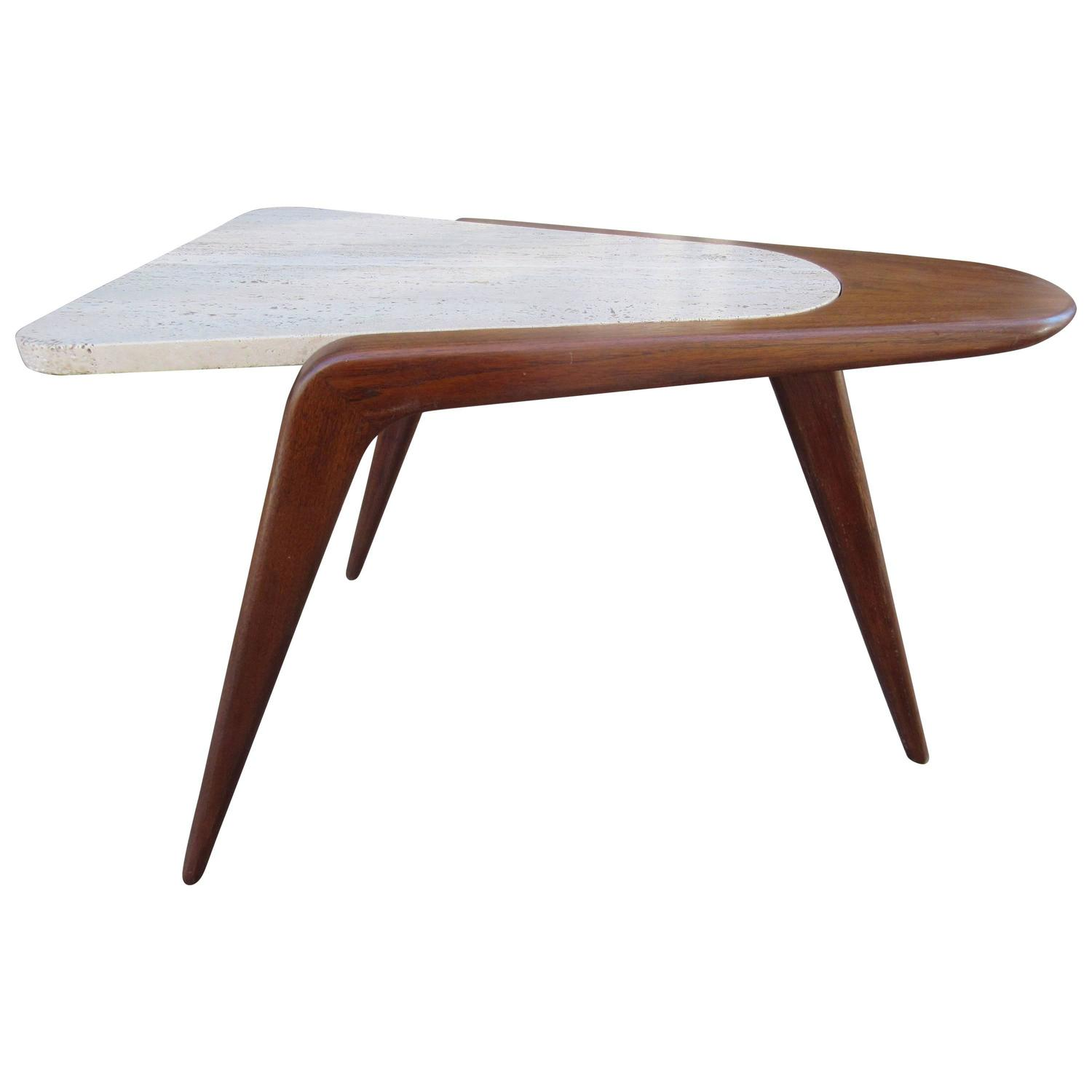 Vladimir Kagan Tripod Terrazzo and Walnut Side Table at 1stdibs