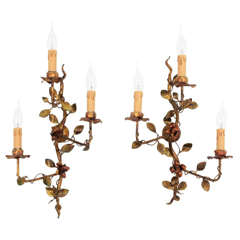 Pair of Spanish 1940s  Polychromed and Gilt Iron Floral Tole Sconces