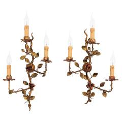 Pair of Spanish Polychromed and Gilt Iron Floral Tole Sconces