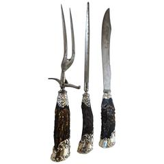 Carving Set with Antler Horned Handles, Sterling Silver, circa 1890s