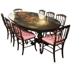 Superb Hand-Painted Antique Oblong Dining Set with Eight Chairs