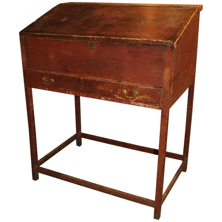18th Century Schoolmaster S Desk In Old Red Paint For