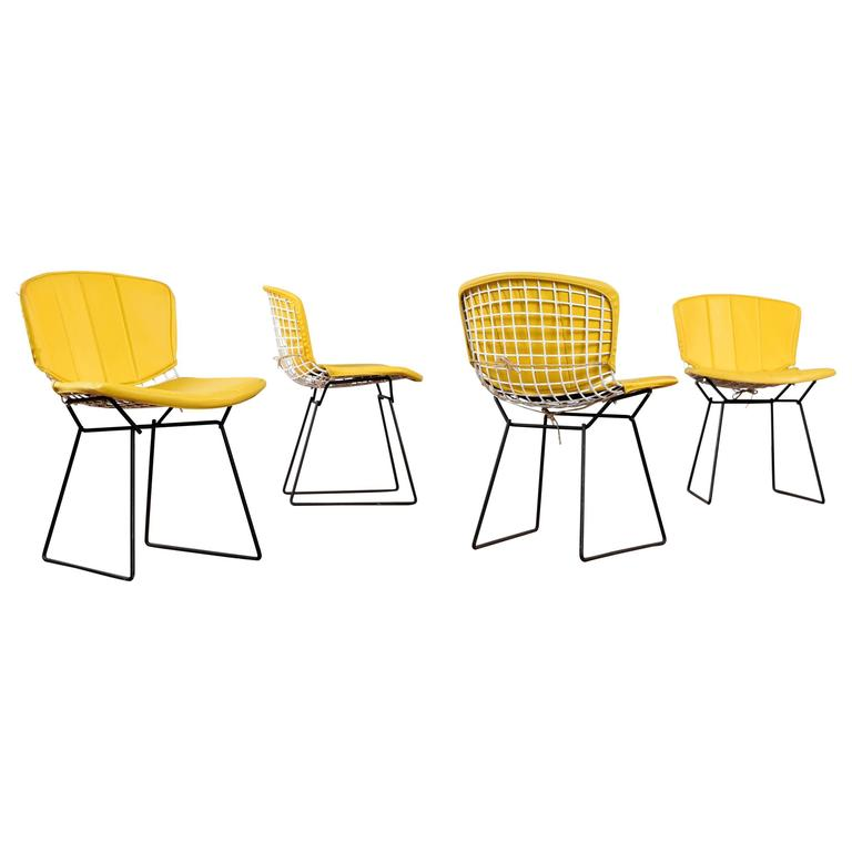 Harry Bertoia for Knoll chairs with pads, 1950s