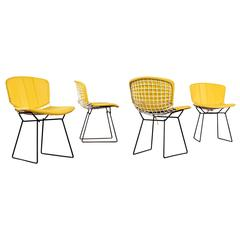 Mid Century Modern Bertoia Knoll Chairs with Yellow Pads