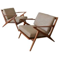 Pair of Poul Jensen for Selig Z Chairs, circa 1960