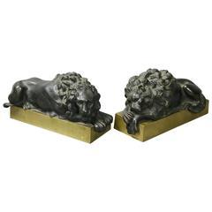 Pair of Italian Bronze Lions After Canova