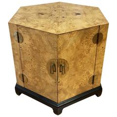 Hexagonal Burl Wood and Brass Cabinet Attributed to Henredon