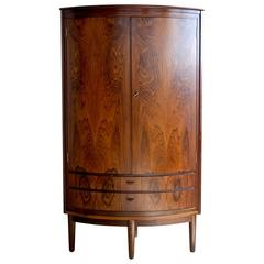 Superb Rosewood Corner Cabinet Attributed to Agner Christoffersen