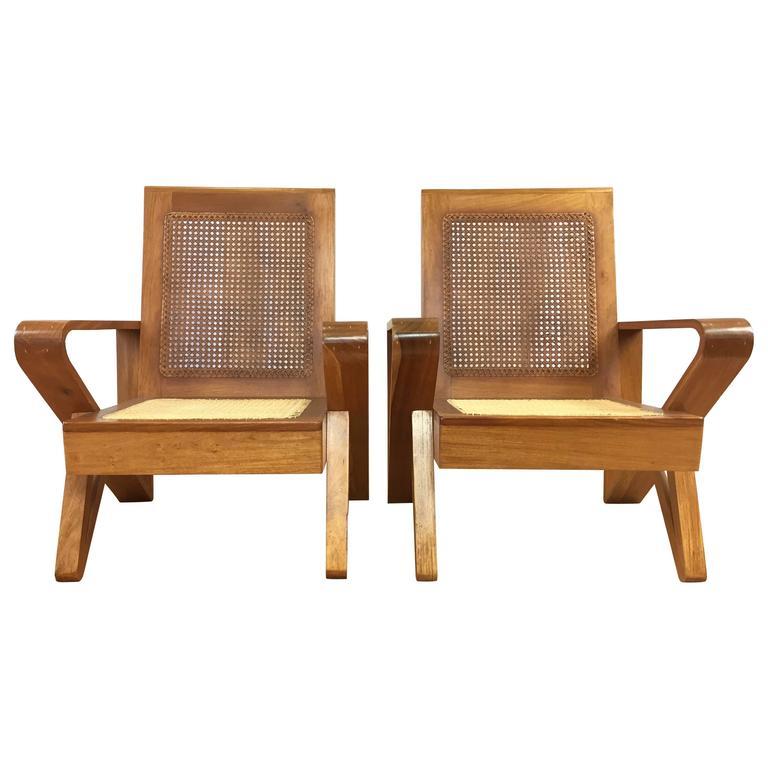 Un mon Pair of Hawaiian Koa Wood and Woven Cane Lounge
