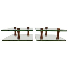 Pair of Rare Gilbert Rohde for Herman Miller Walnut and Glass End Tables