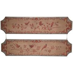 Pair of 19th Century French Napoleon III Hand-Painted Wood Panels with Birds