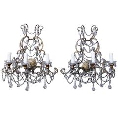 Pair of Italian Crystal Beaded Sconces
