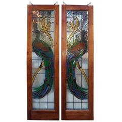 Pair of American Peacock Vibrant Stained Glass Windows, Circa 1920