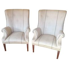 Pair of Classic Ralph Lauren Tub Chairs in Belgian Linen