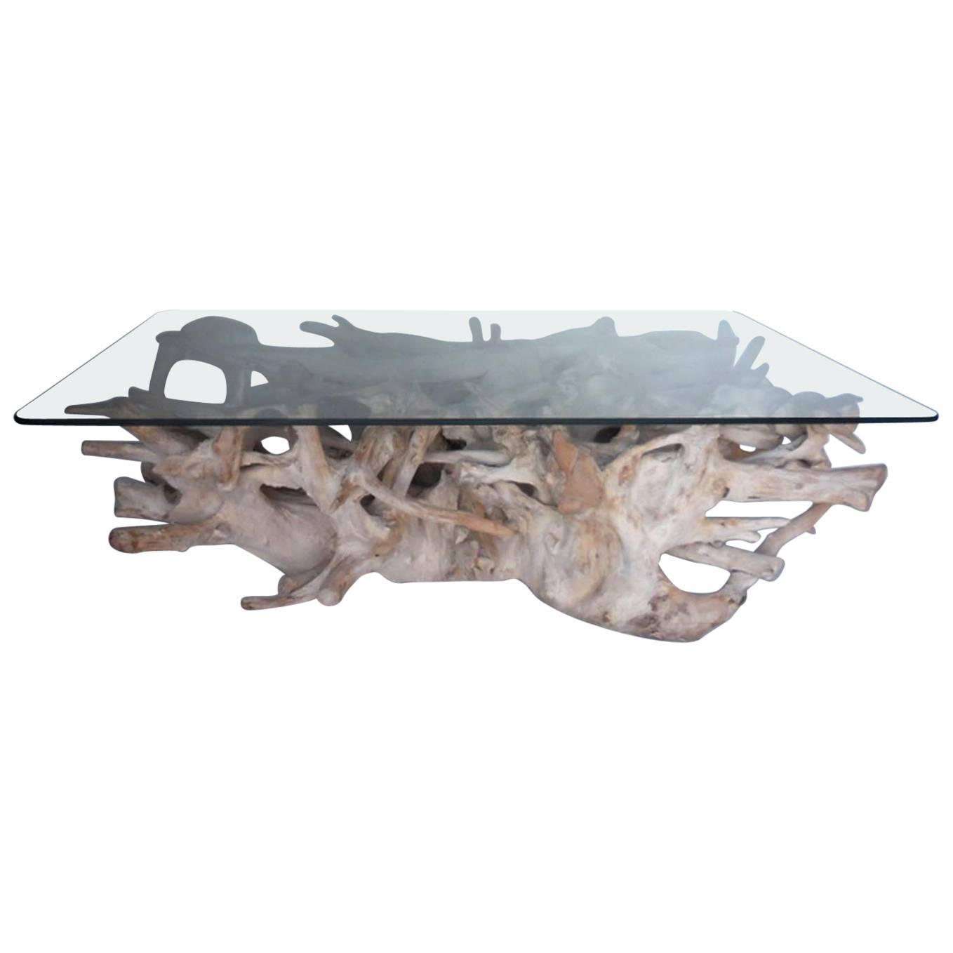 3503819219a5d Sculptural Teak Root Coffee Table with Glass Top at 1stdibs