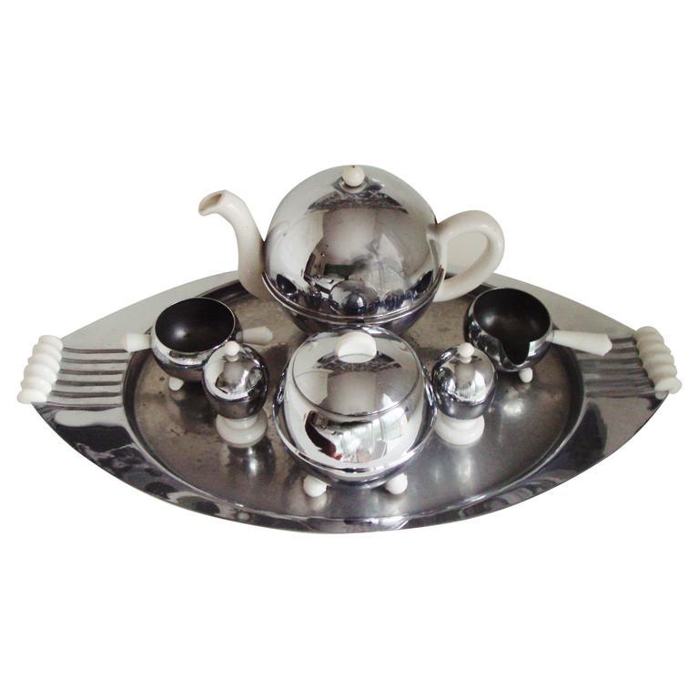 Rare Mid-Century 7-Piece Insulated Tea Set in Chrome, Ceramic & Lucite.