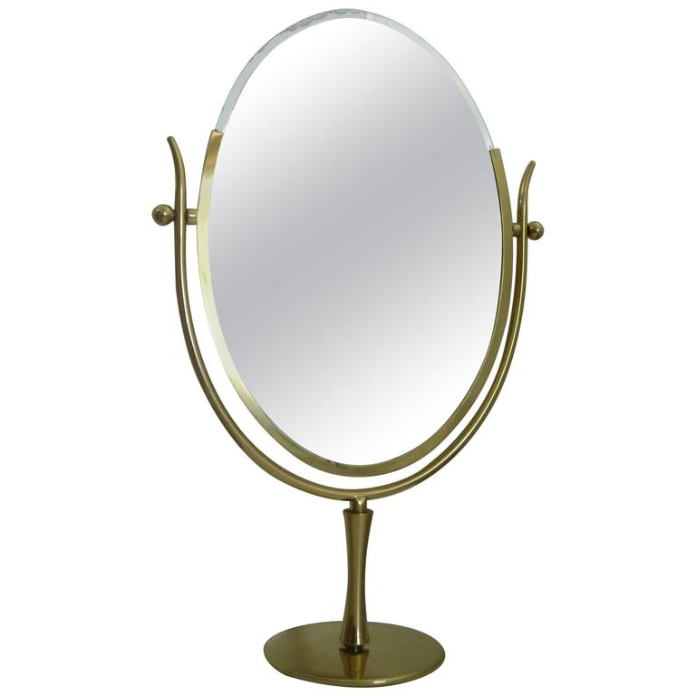 "Charles Hollis Jones ""Wishbone"" vanity brass mirror. 1"
