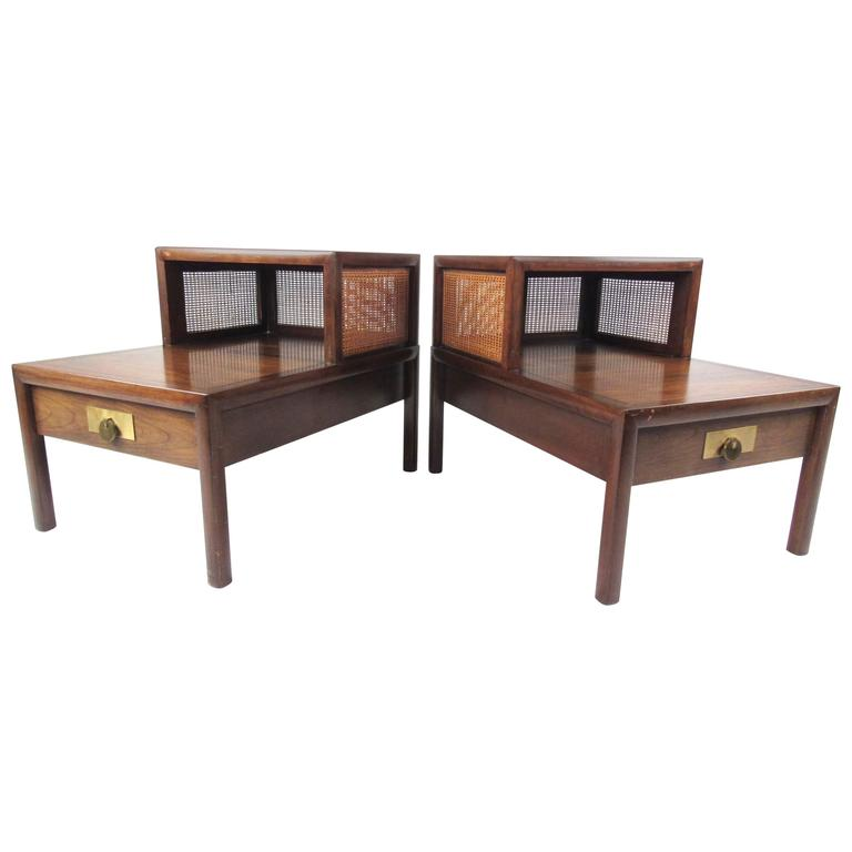 Pair Of Mid Century Modern Two Tier Cane And Walnut Lamp Tables By Baker