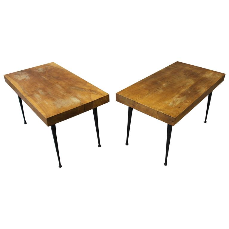 Pair of Fine French Art Deco Wrought Iron and Solid Walnut Coffee Table