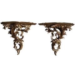 Pair of Italian Gilt Carved Wood Floral Wall Brackets, Circa 1840