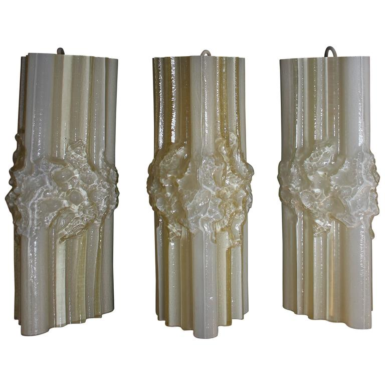 Set of Three Wall Sconces in Murano Glass, Italy, 1960