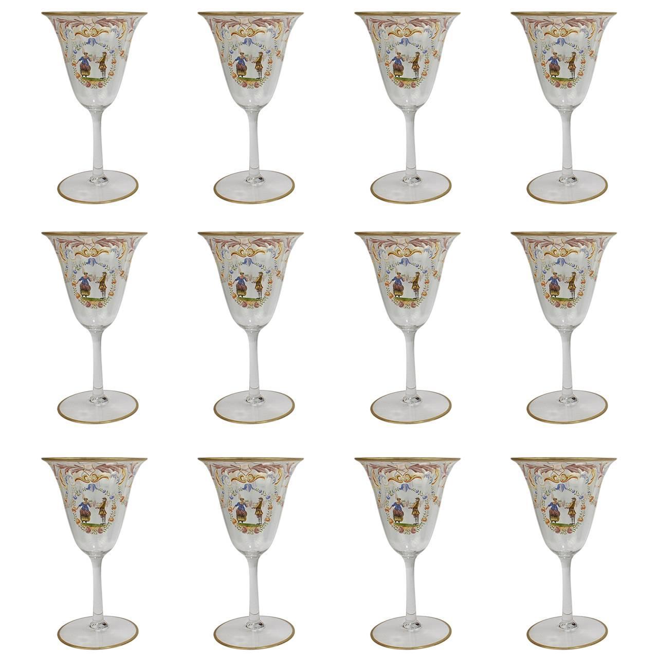 Set of 12 Enameled Venetian Glass Wine or Water Goblets, 1930s