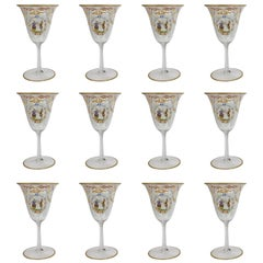 Set of 12 Enameled Venetian Glass Wine or Water Goblets, 1930s