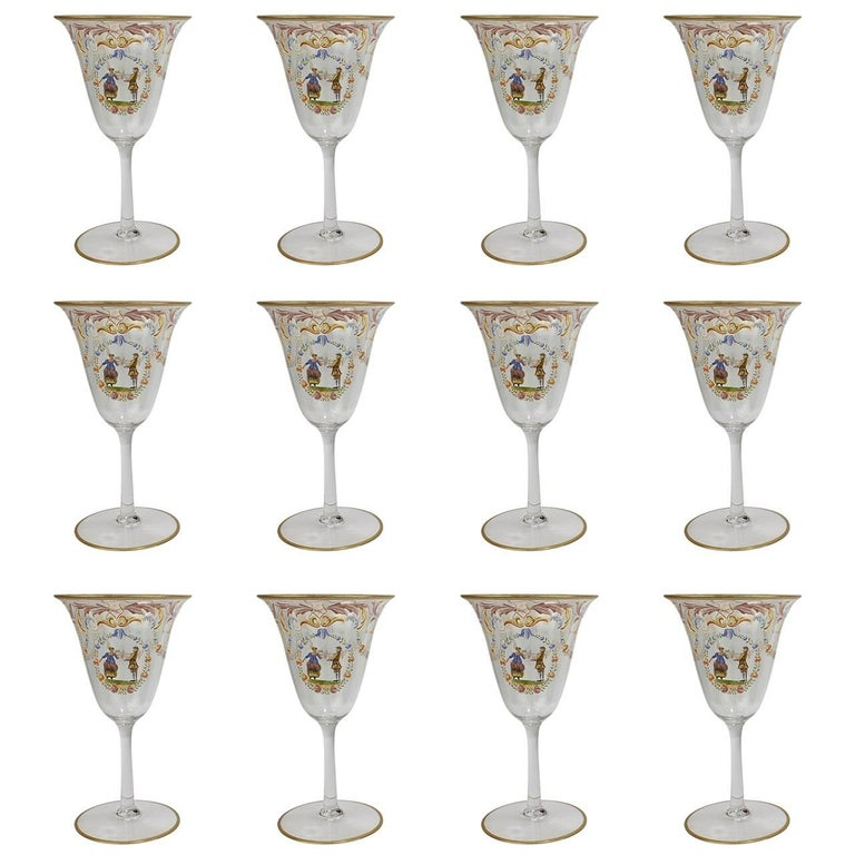 Set of 12 Enameled Venetian Glass Wine or Water Goblets, 1930s For Sale