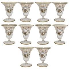 Set of Ten Enamelled Venetian Glass Short Stemmed Cordial Glasses, 1930s