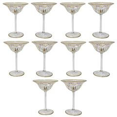 Set of Ten Enamelled Venetian Glass Low Champagne Glasses, 1930s
