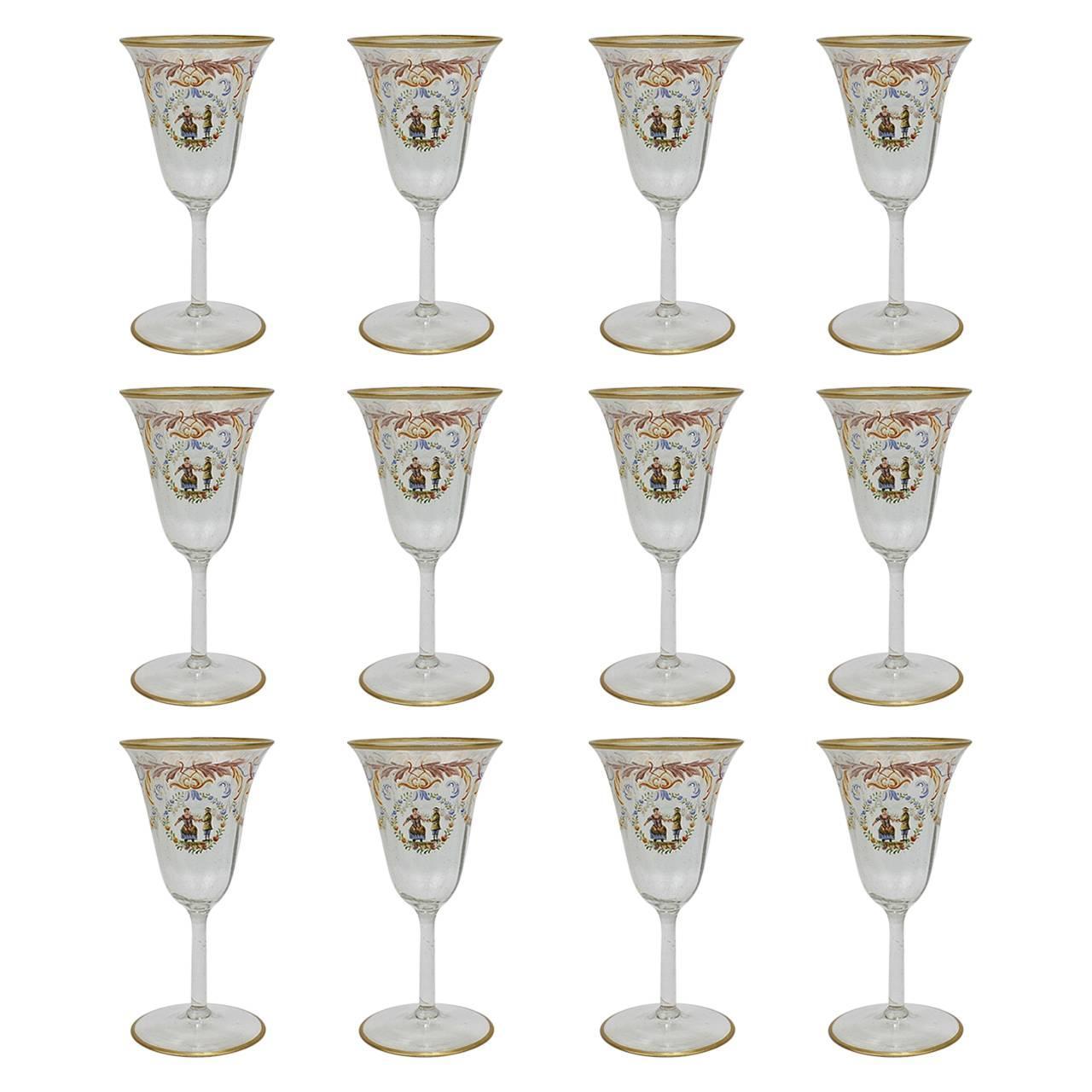 Set of 12 Enameled Venetian Glass White Wine Stems or Glasses, 1930s