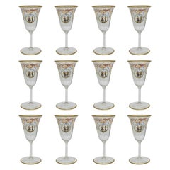 Set of 12 Enameled Venetian Glass White Wine Stems or Glasses, 1930s