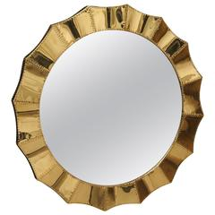 2010 Brass and Wood Italian Wall Mirror