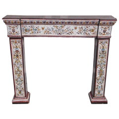 Italian Porcelain and Decorative Painted Fireplace Mantel, Circa 1850