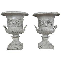 Pair of French Cast Iron Garden Urns