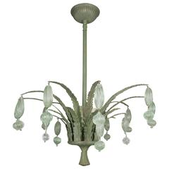 Foliate Green Murano Glass Ceiling Fixture