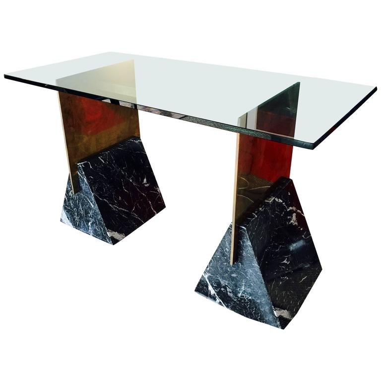 Brass And Marble Console Desk With Glass Top At 1stdibs