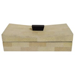 Beige Curved Shagreen Box by Fabio Ltd