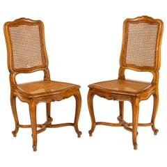 Pair of Louis XV Style Cane Chairs, 19th Century