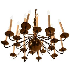 20-Light Ball Base Brass and Black Chandelier Attributed to Lightolier