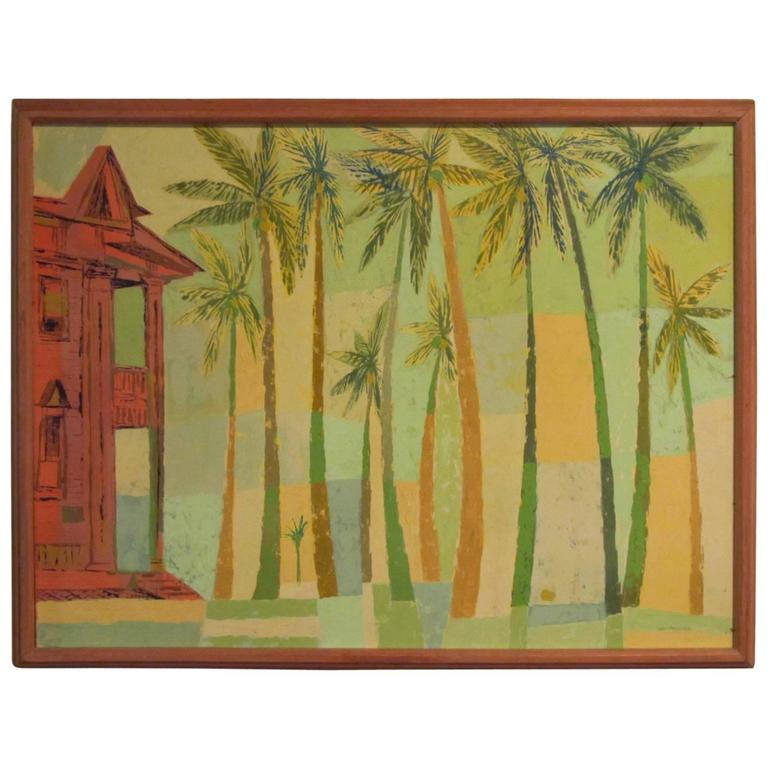 "Signed Original Painting ""Kailua Coconut Grove"" by Earl Thollander 1"
