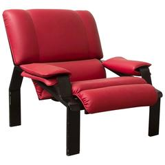1964, Joe Colombo, Super Comfort Chair in Red Leather and Black Base for B-Line