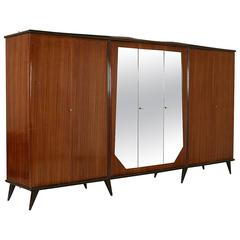 Rosewood Veneered Wardrobe with Mirror Vintage Manufactured in Italy, 1950s