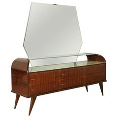 Chest of Drawers with Mirror Rosewood Veneer Glass Vintage Italy, 1950s