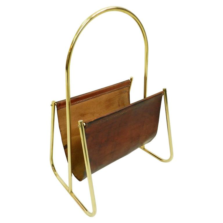 Carl Aubck Leather and Brass Magazine Holder For Sale
