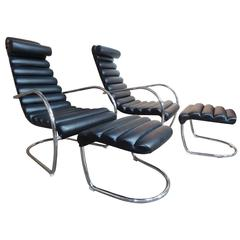 20th Century Italian Tubular Black Leather Lounge Chairs with Ottoman