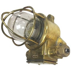 Late 20th Century British Made Brass Wall Light, Cage and Glass Dome - Marine