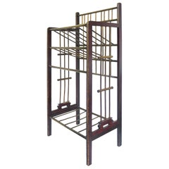 Viennese Secession Mahogany and Brass Magazine Stand, 1900