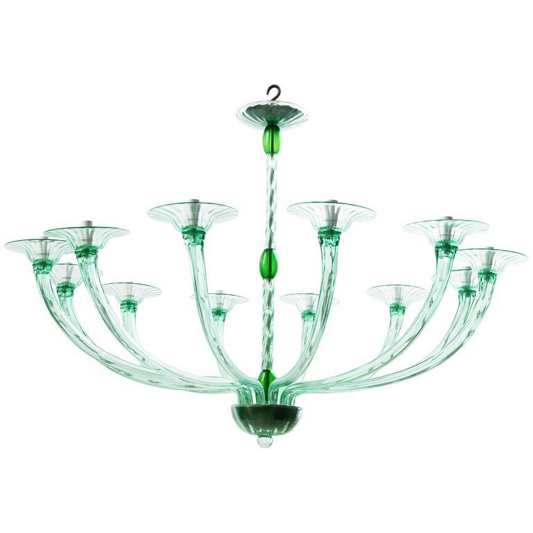 Venini green glass chandelier circa 1935 at 1stdibs venini green glass chandelier circa 1935 for sale aloadofball Gallery